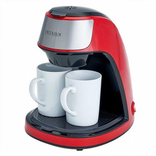 Кофеварка LUX DE-2002 красная + 2 керамические кружки